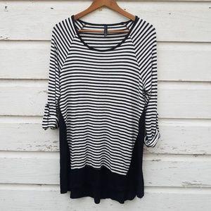 Match Point Black & White Striped Jersey Tunic